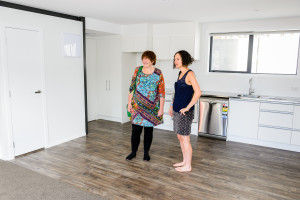 Liz and Alison Cadman from Dwell social housing trust get ready to show the homes to the public.'