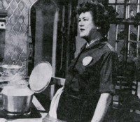 Julia Child gives a cooking demonstration